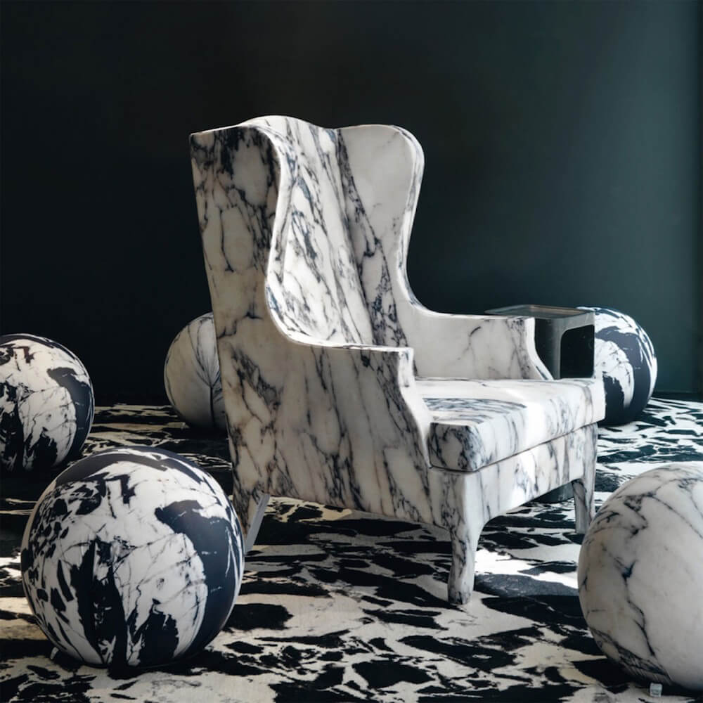 'Louis XV goes to Sparta' Marble chair by Maurizio Galante and Tal Lancman