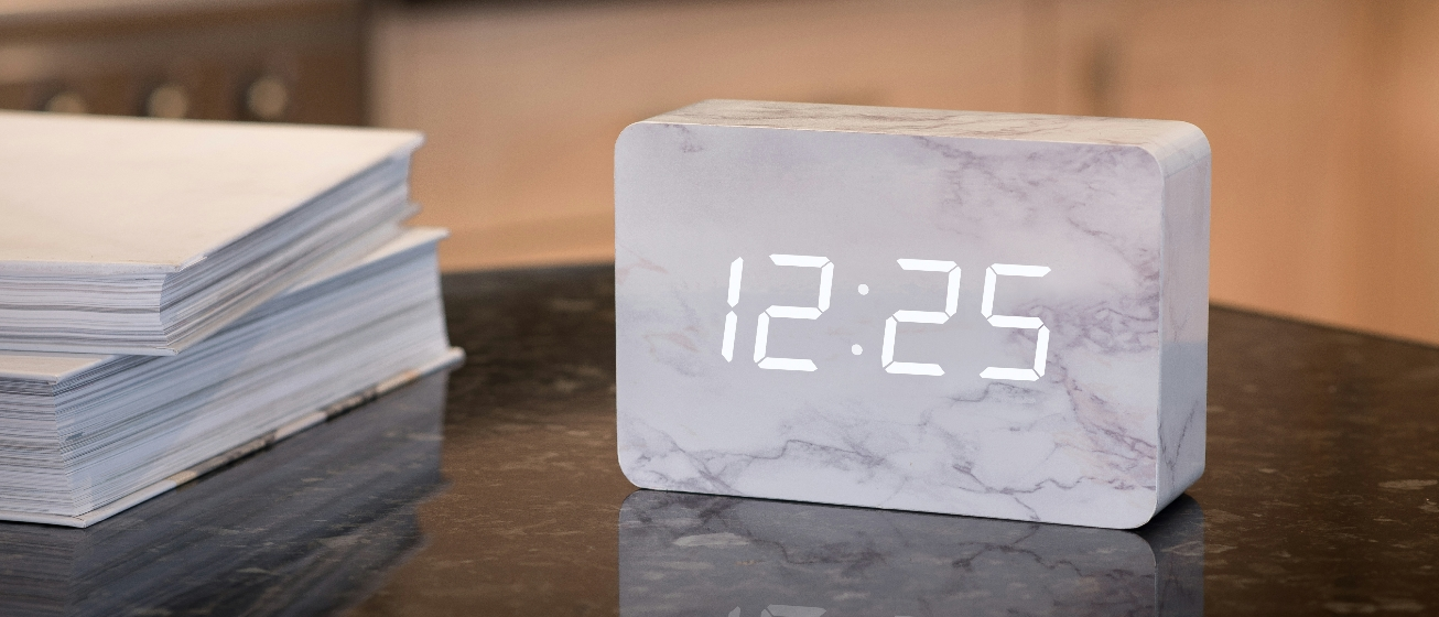 Marble brick alarm clock by Gingko electronics