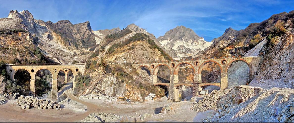 The magnificent Vara bridges in Carrara