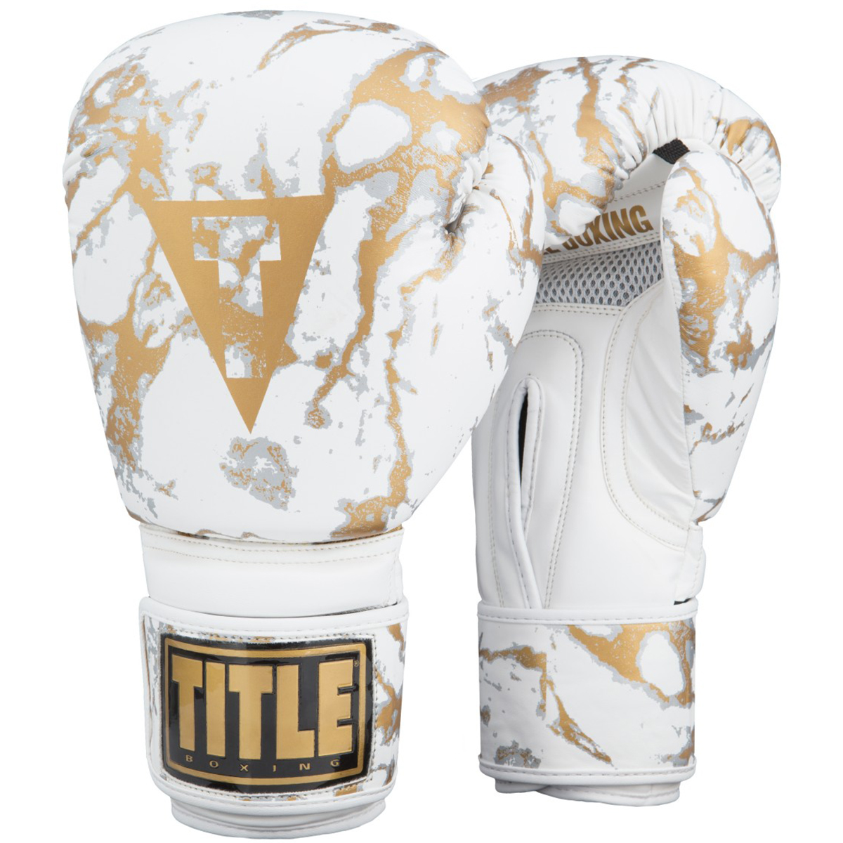 White and Gold Marble Hook and Loop Bag Boxing Gloves by TITL
