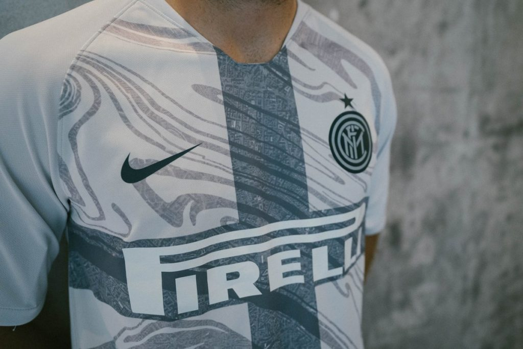 Detail of INTER third kit jersey with marble pattern