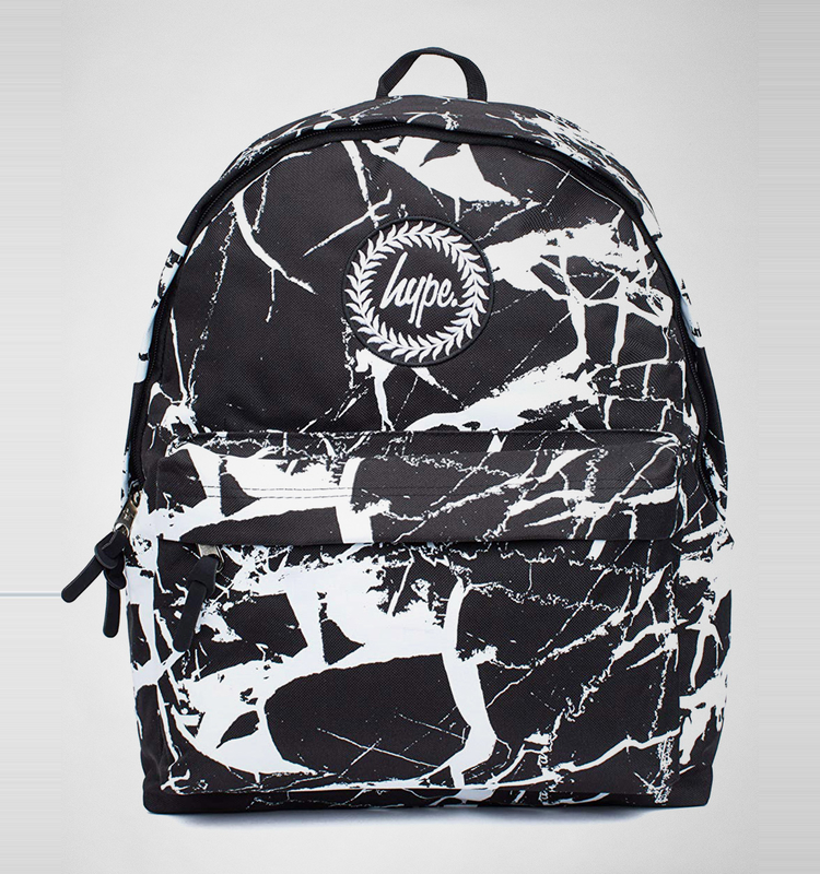 hype backpack black marble print