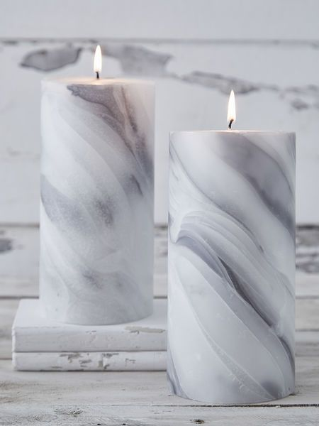 Marble pillar candles by Nordic House