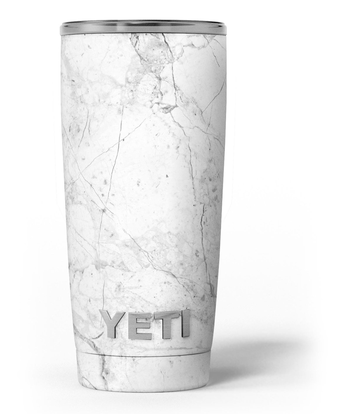 Yeti Rambler Cooler with Design Skiz Carrara marble skin