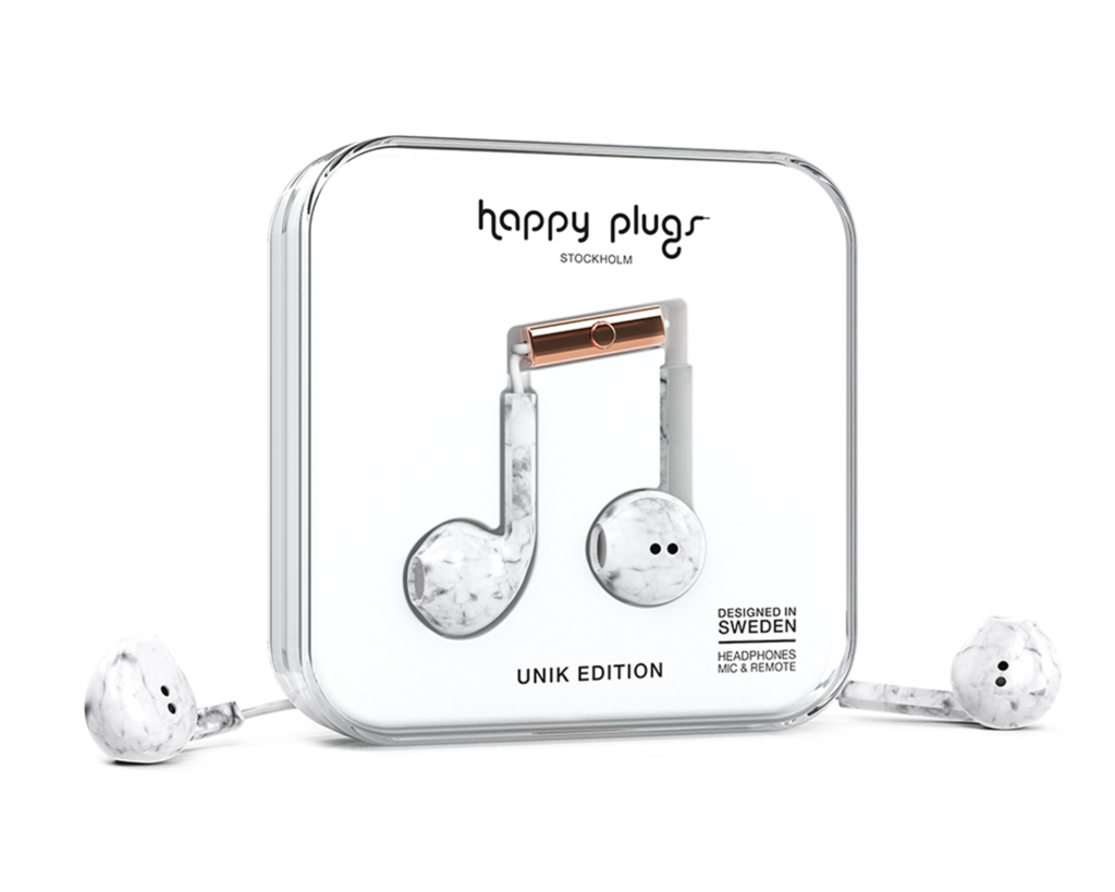 Earbud Plus, Wired Headphones in White Marble by Happy Plugs