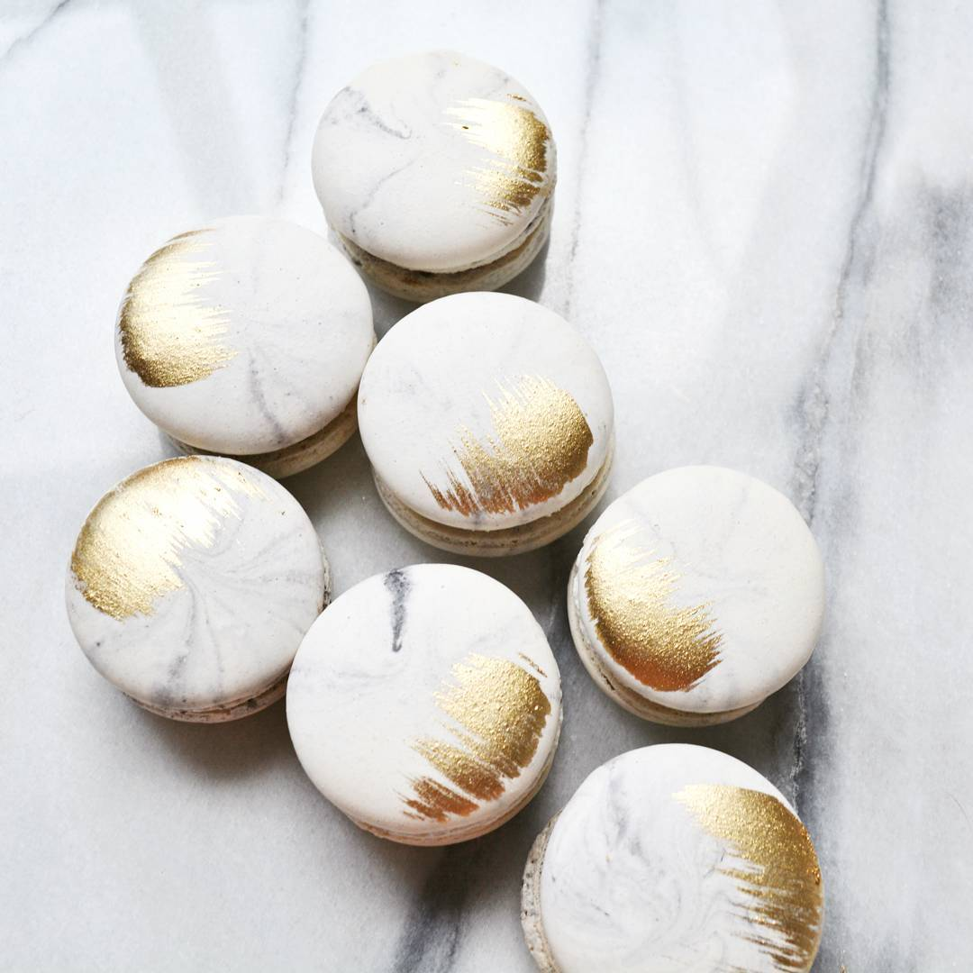 Marbled macarons with gold detail. Carrara marble effect!