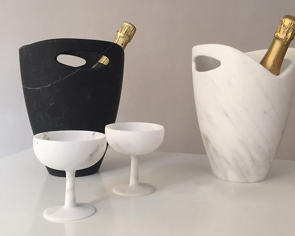 Carrara marble wine cooler by Studioformart