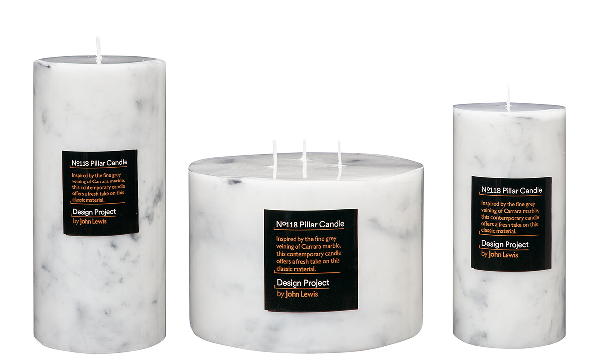 Marble effect candles by John Lewis
