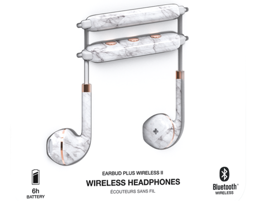 Wireless White Marble headphones by happy plugs