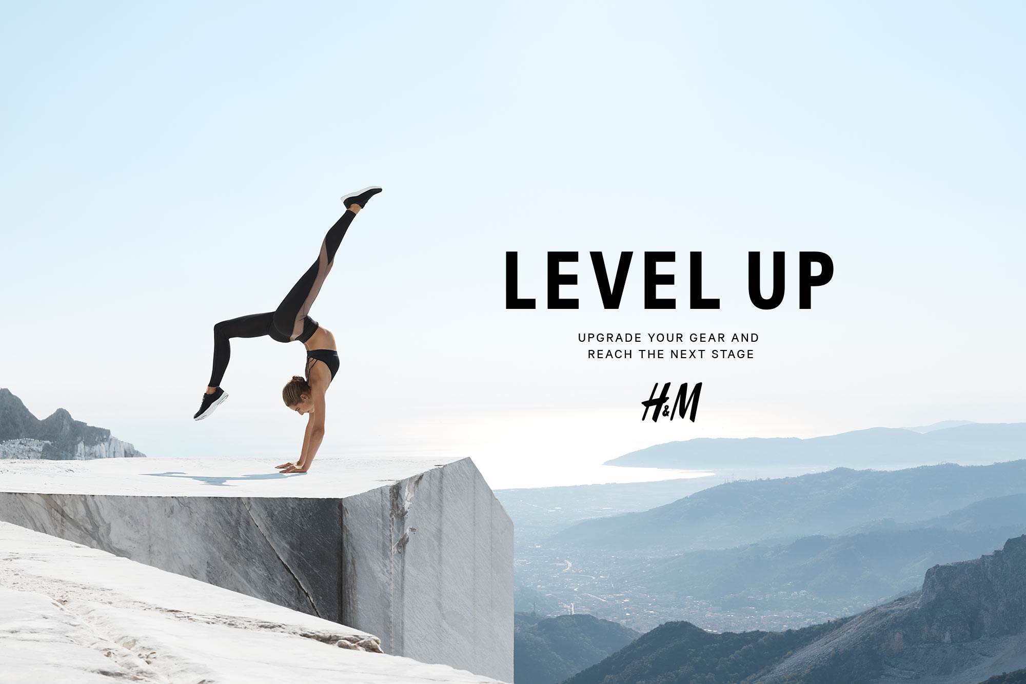"H&M ""Level Up"" Sport collection Fall 2017, set in Carrara marble quarries"