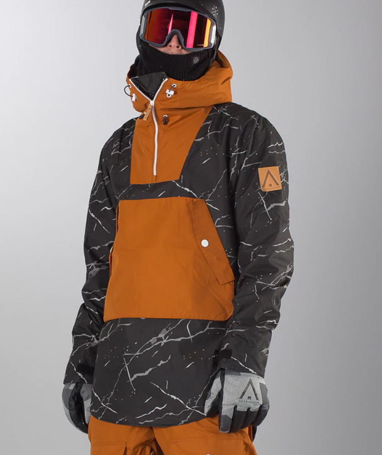 Black marble Anorak ski jacket by Wear Colour