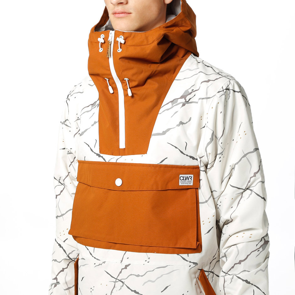 White marble Anorak ski jacket by Wear Colour