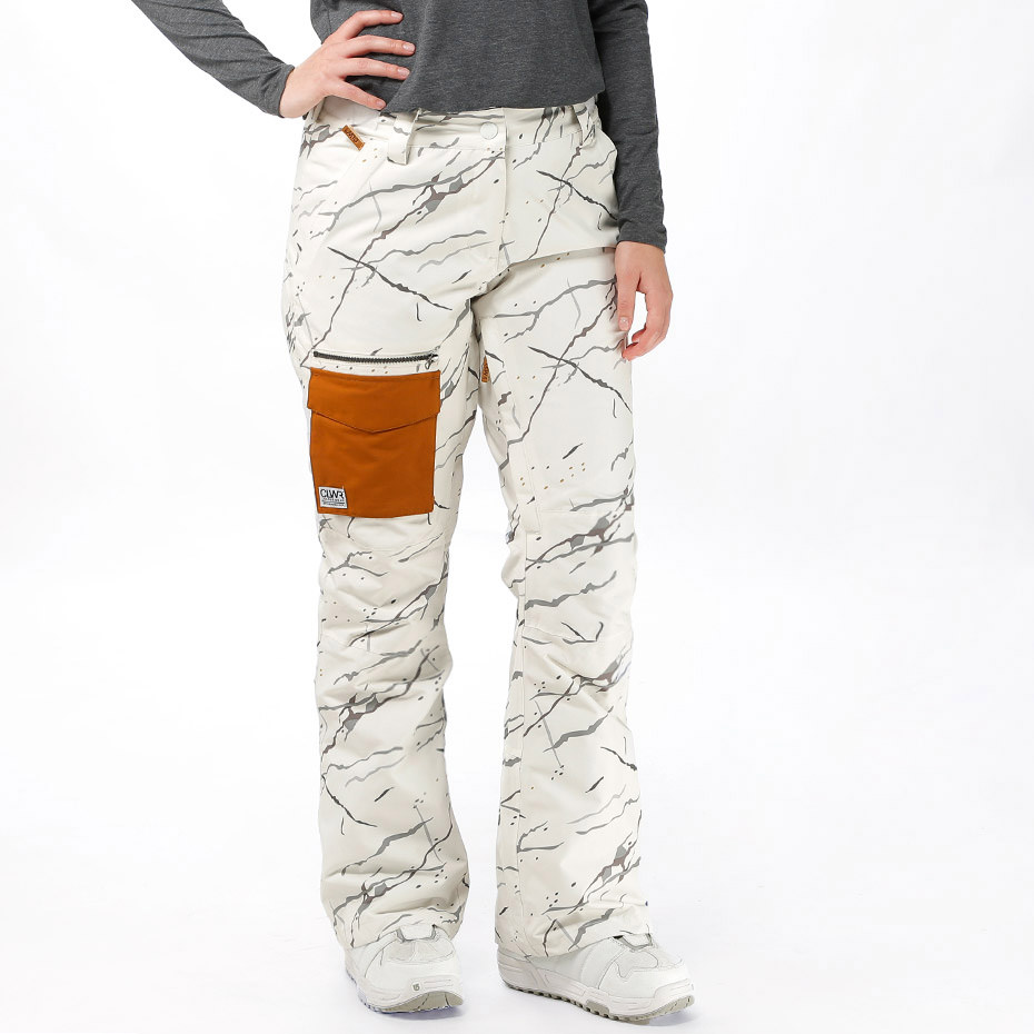 White marble Slant snow pants by Wear Colour
