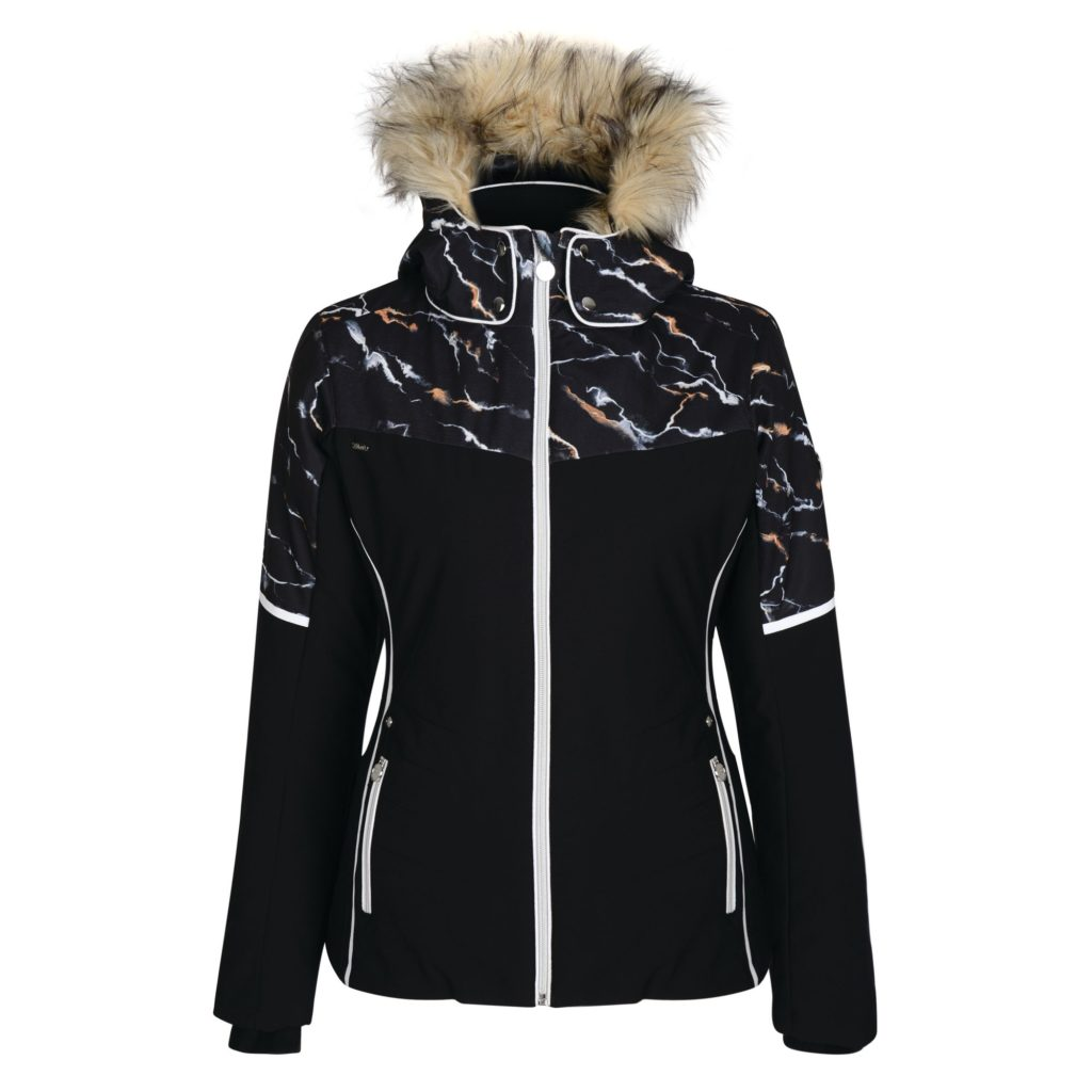 Providence ski jacket in black marble print by Dare2b