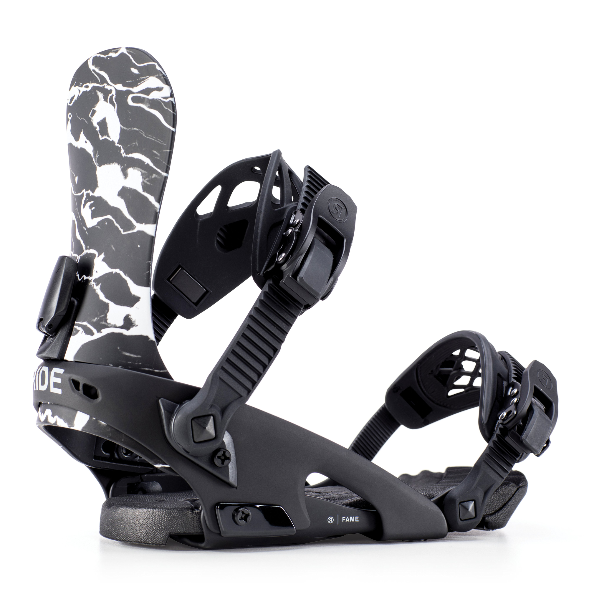 Black marble Fame Snowboard Bindings by Ride Snowboards (2019 collection)
