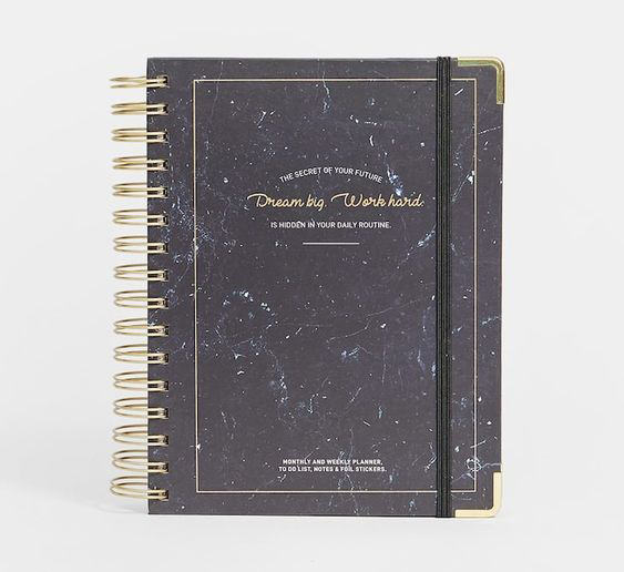 Black Marble daily planner by Stradivarius