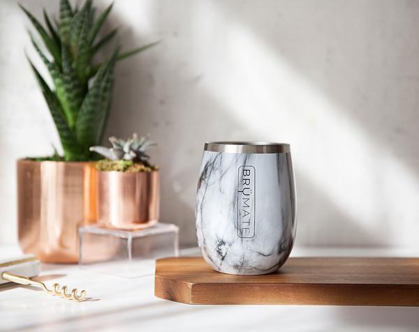 BrüMate Uncork'd Wine Glasses - Carrara marble pattern