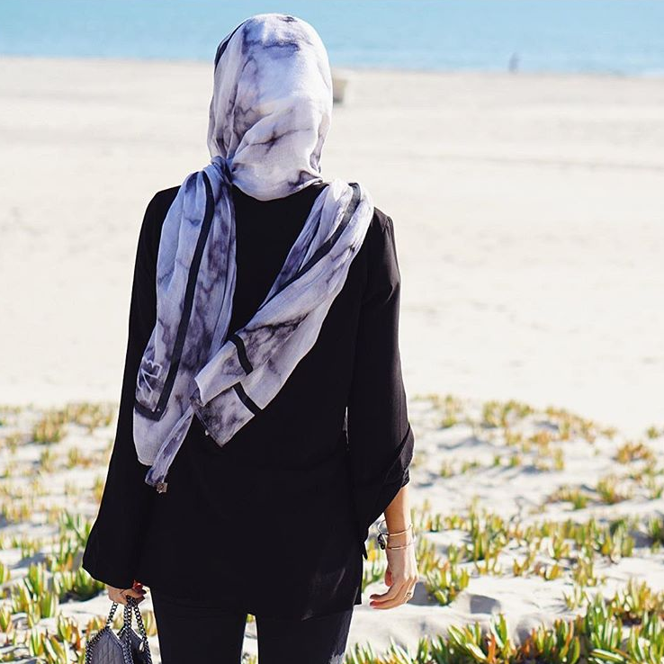 Marble print scarf by VELA scarves - source @velascarves Instagram