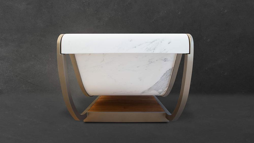 Vellum by SAGEVAM marmi (2018) Design: Franco Gemignani & Natascia Bascherini Statuary marble, iron structure, teak base