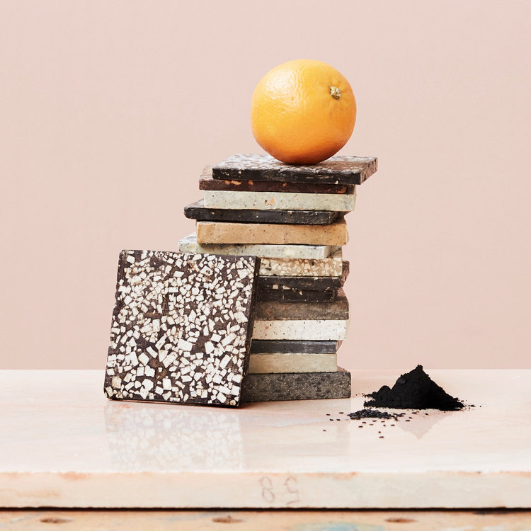 BRIK Tile #002: 75% dark chocolate with orange peel, toasted black sesame and activated charcoal.
