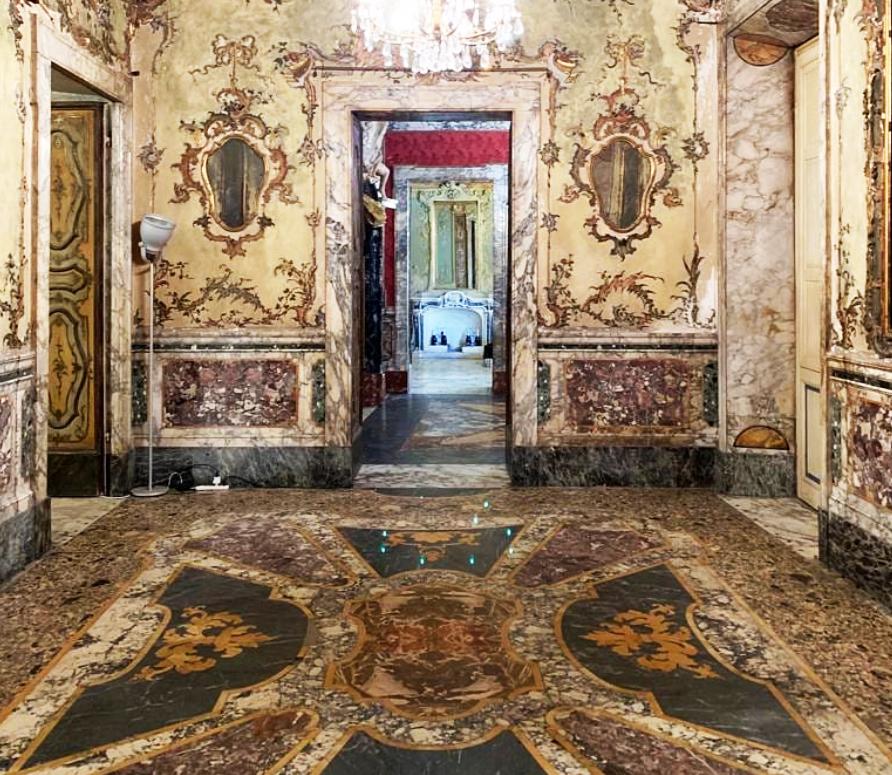 Magnificent interiors of Palazzo del Medico, Piazza Alberica, Carrara