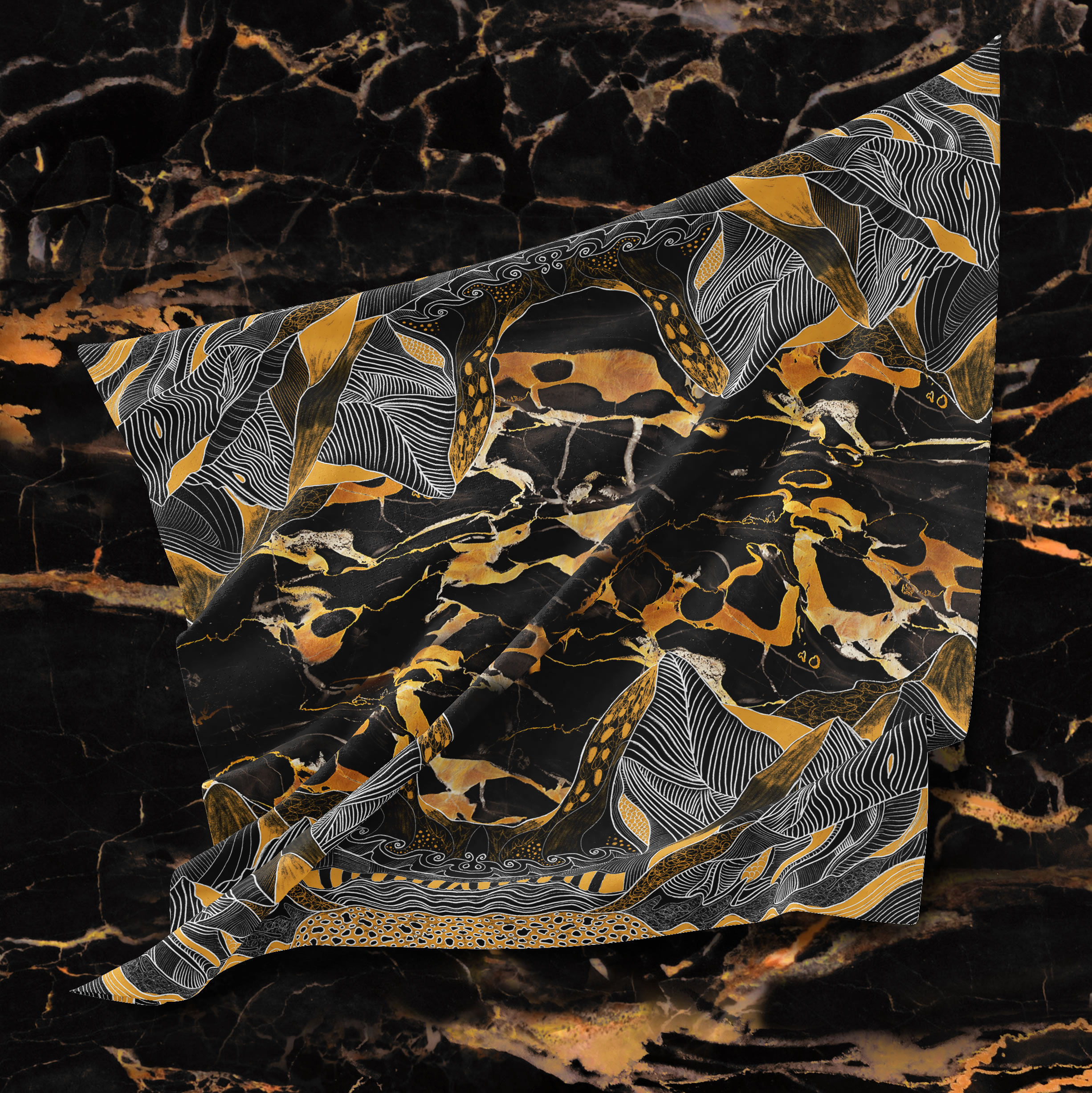 Emerged Garderns Collection - Statuario marble silk scarf by Artistante