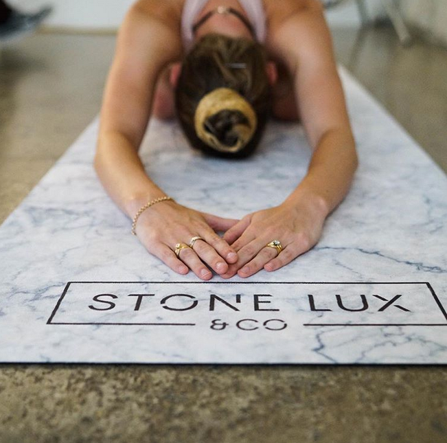 5.White marble yoga mat by StoneLux & co