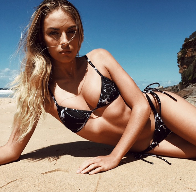 Marble swimwear UK - black marble bikini (UK)