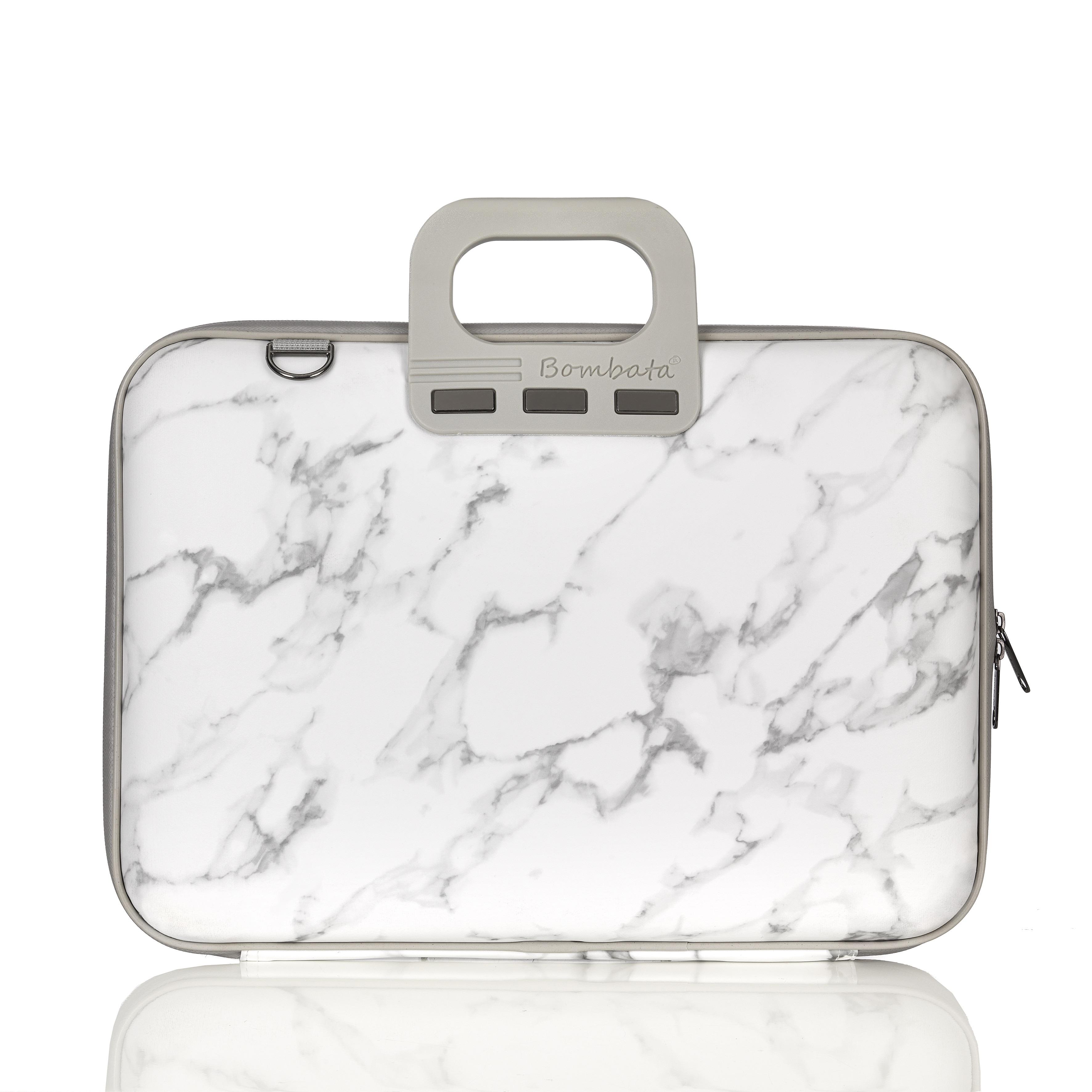 Bombata laptop bag in Carrara marble print - designed in Italy