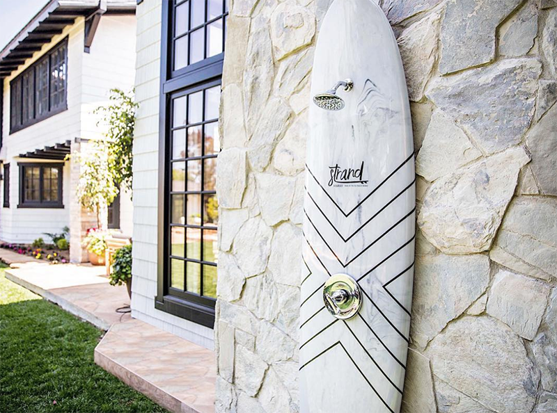 Marble surfboard shower by Strandboards