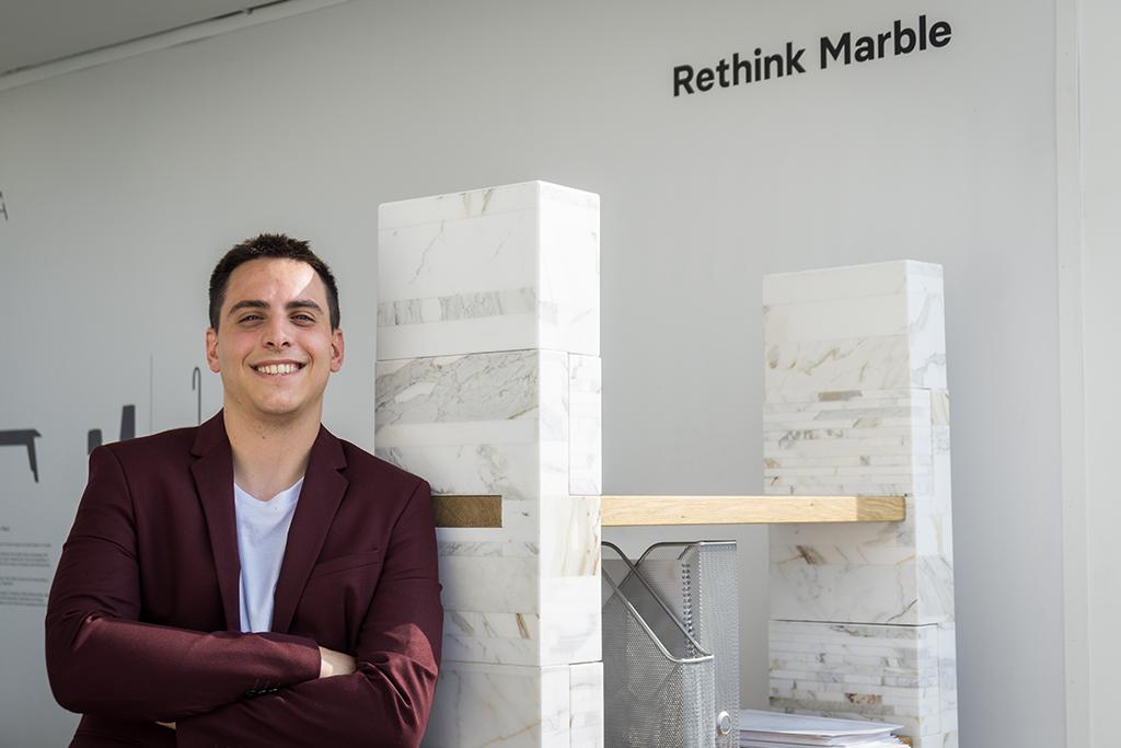 Giorgio Gaudio and his FUTURA marble bookcase