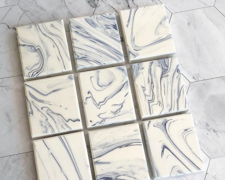 Carrara marble inspired soap bars handmade in Thailand by TandB Soap House