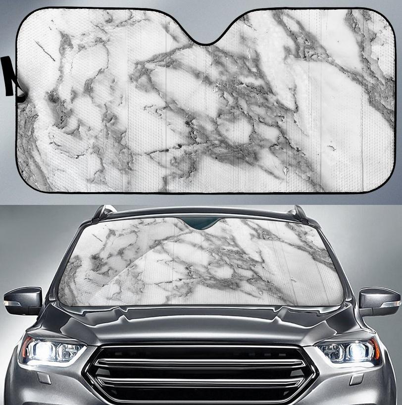Carrara marble print car sun shade - by Gearfrost