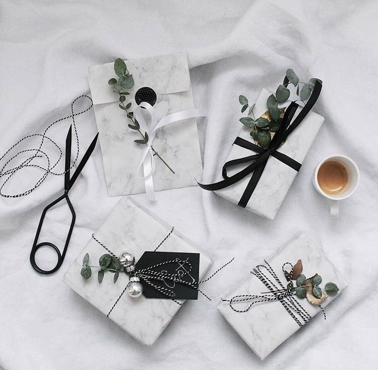Carrara Marble wrapping paper and leaves - natural and minimalist gift wrapping
